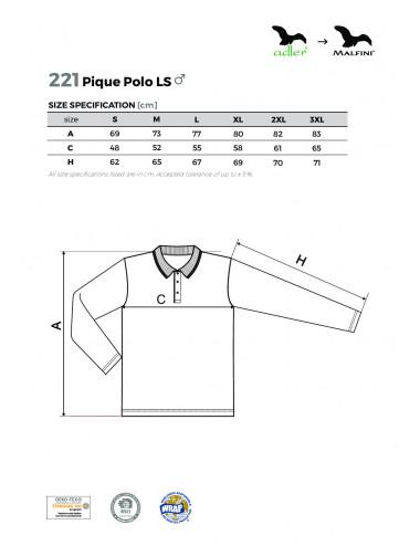 2Adler MALFINI Koszulka polo męska Pique Polo LS 221 ciemnoszary melanż