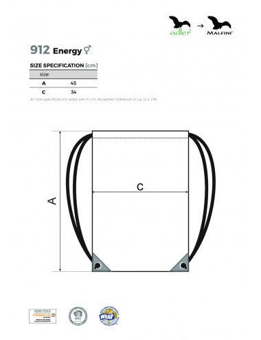 2Adler MALFINI Gymsack Unisex/Kids Energy 912 lazurowy