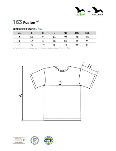 2Adler MALFINI Koszulka męska Fusion 163 srebrny melanż