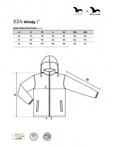 2Adler MALFINI Wiatrówka unisex Windy 524 czarny