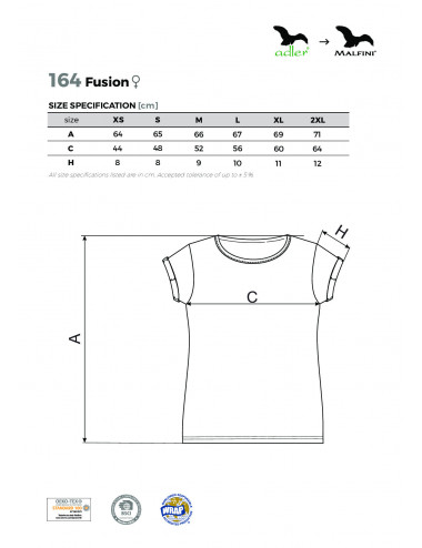 2Adler MALFINI Koszulka damska Fusion 164 biały