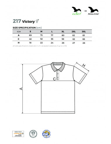 2Adler MALFINI Koszulka polo unisex Victory 217 czerwony