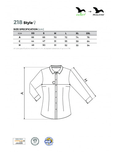 2Adler MALFINI Koszula damska Style 218 czarny