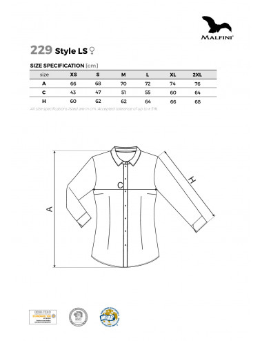 2Adler MALFINI Koszula damska Style LS 229 biały