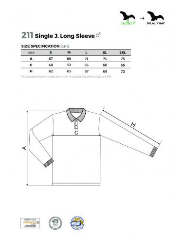 2Adler MALFINI Koszulka polo męska Single J. LS 211 biały