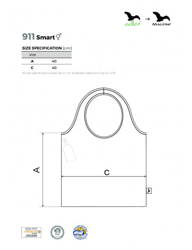 2Adler MALFINI Torba na zakupy unisex Smart 911 ciemny turkus