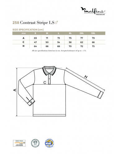 2Adler MALFINIPREMIUM Koszulka polo męska Contrast Stripe LS 258 formula red