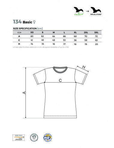2Adler MALFINI Koszulka damska Basic 134 uksjowy