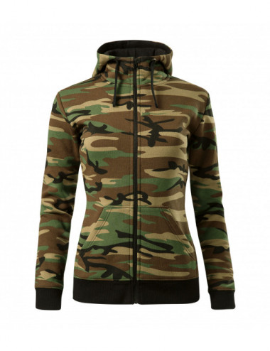 2Adler MALFINI Bluza damska Camo Zipper C20 camouflage brown