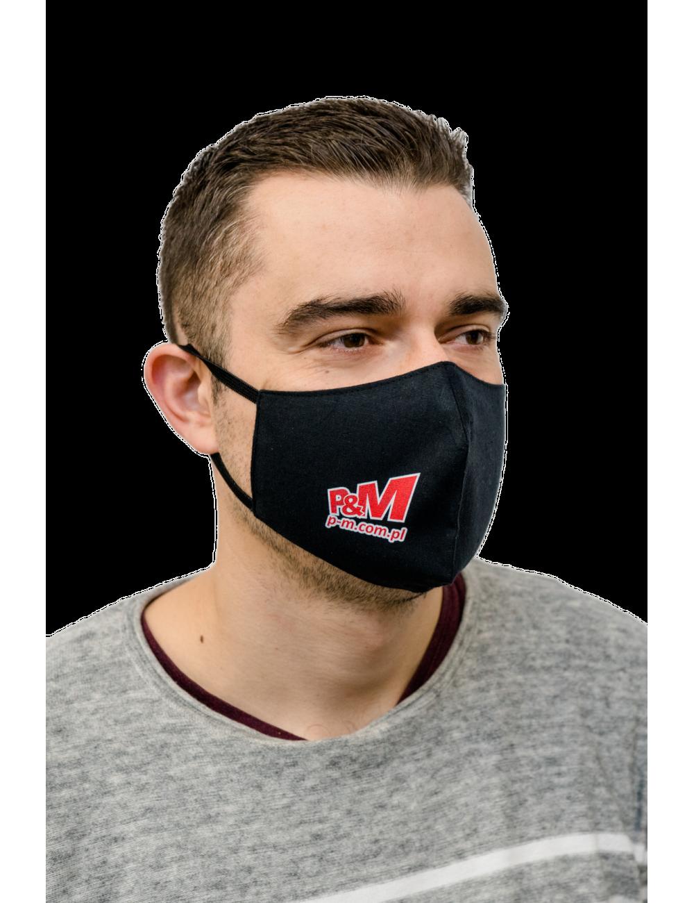 Maska Maseczka Męska profilowana bawełniana czarna z twoim logo full color