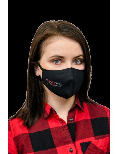 Maska Maseczka Damska profilowana bawełniana czarna z twoim logo full color