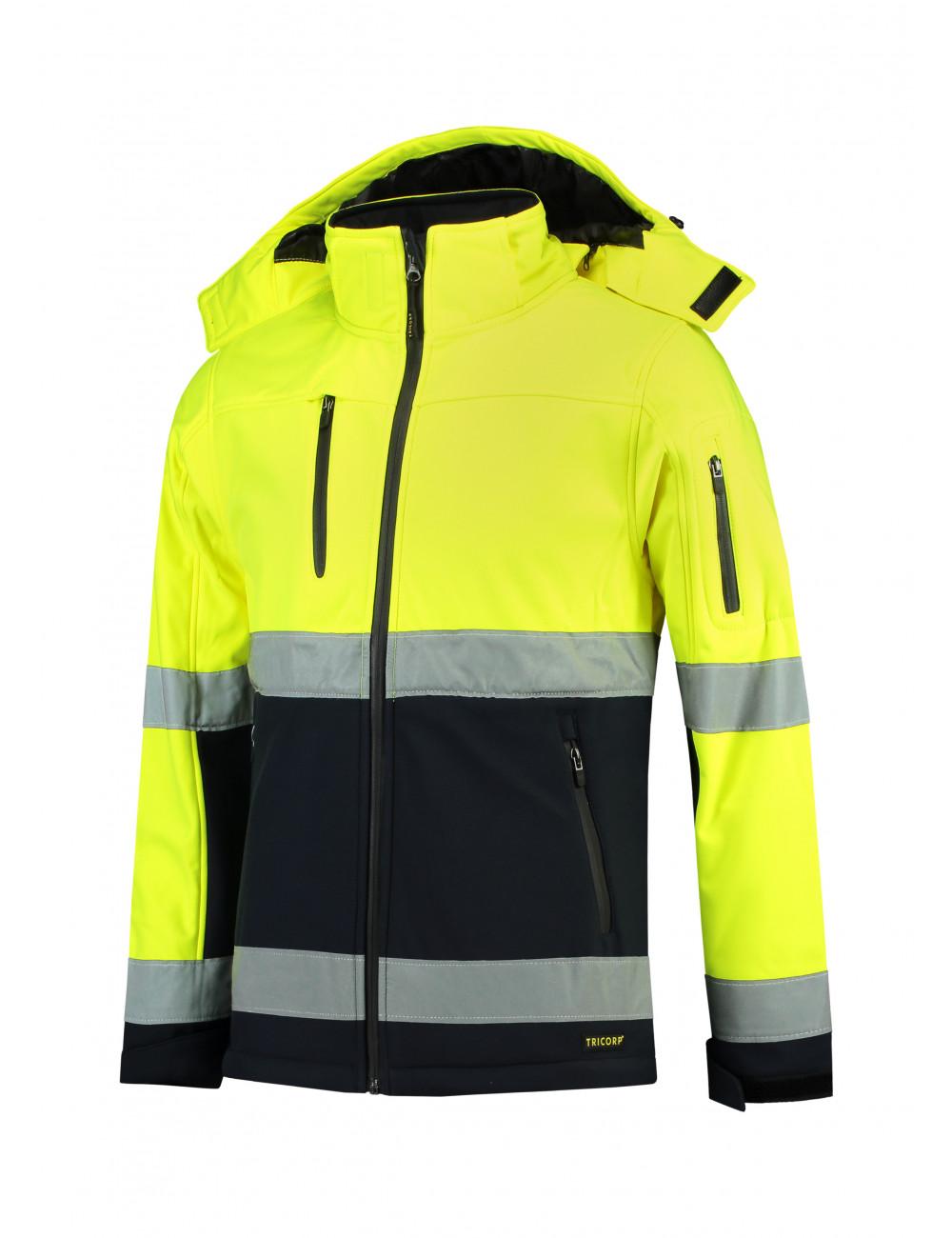 Adler TRICORP Softshell kurtka unisex Bi-color EN ISO 20471 Softshell T52 fluorescencyjny żółty