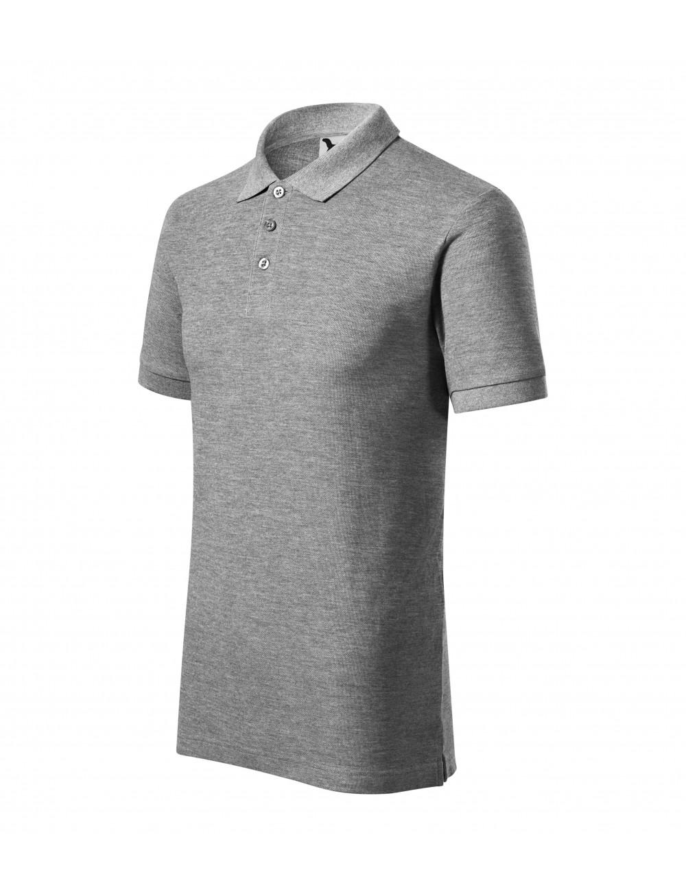 Adler MALFINI Koszulka polo męska Cotton Heavy 215 ciemnoszary melanż