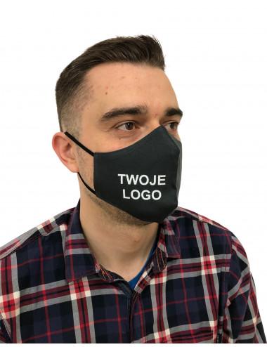 Maseczka Męska profilowana bawełniana maska ochronna grafitowa z twoim logo full color