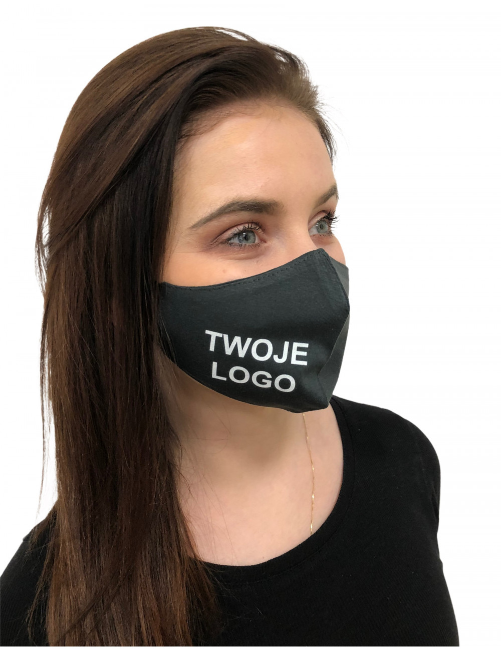 Maseczka Damska profilowana bawełniana maska ochronna grafitowa z twoim  logo full color