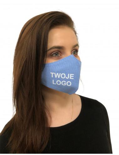 Maseczka Damska profilowana bawełniana niebieska z twoim logo full color maska