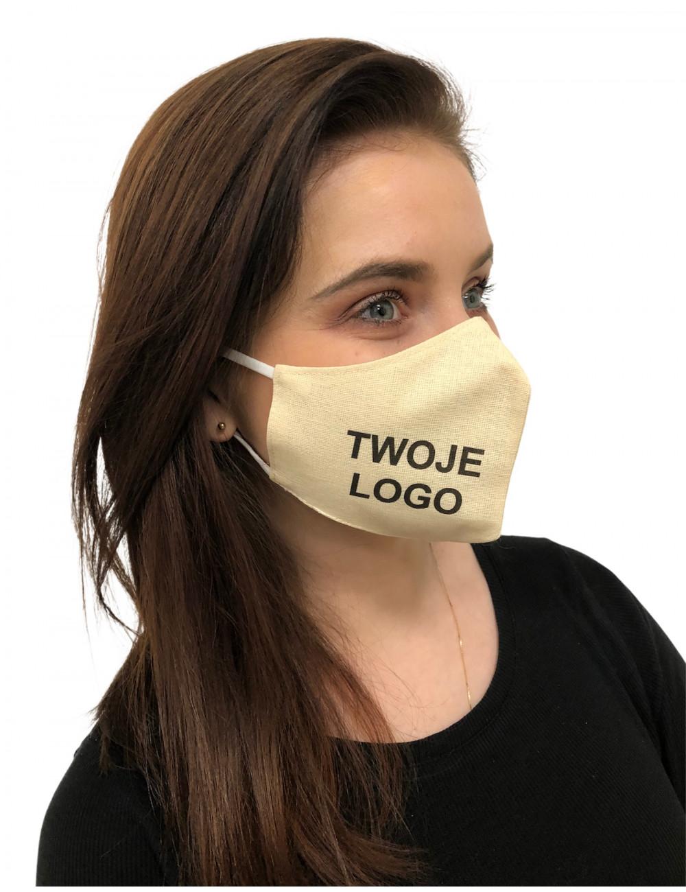 Maska Maseczka Damska profilowana bawełniana jasny beż z twoim logo full color