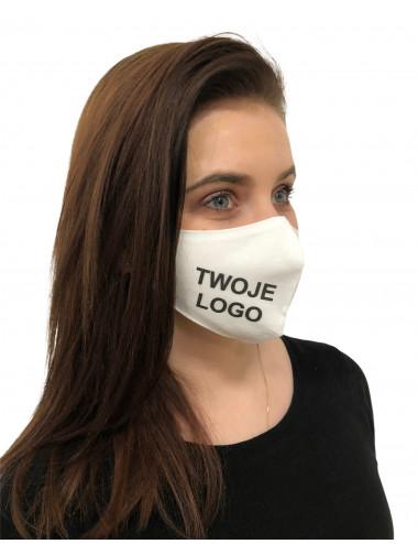 Maska Maseczka Damska profilowana bawełniana biała z twoim logo full color