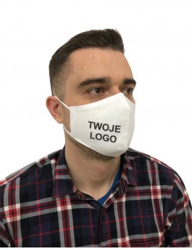 Maska Maseczka Męska profilowana bawełniana biała z nadrukiem full color