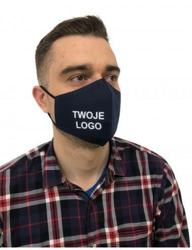 Maseczka Męska profilowana bawełniana granatowa z twoim logo full color maska