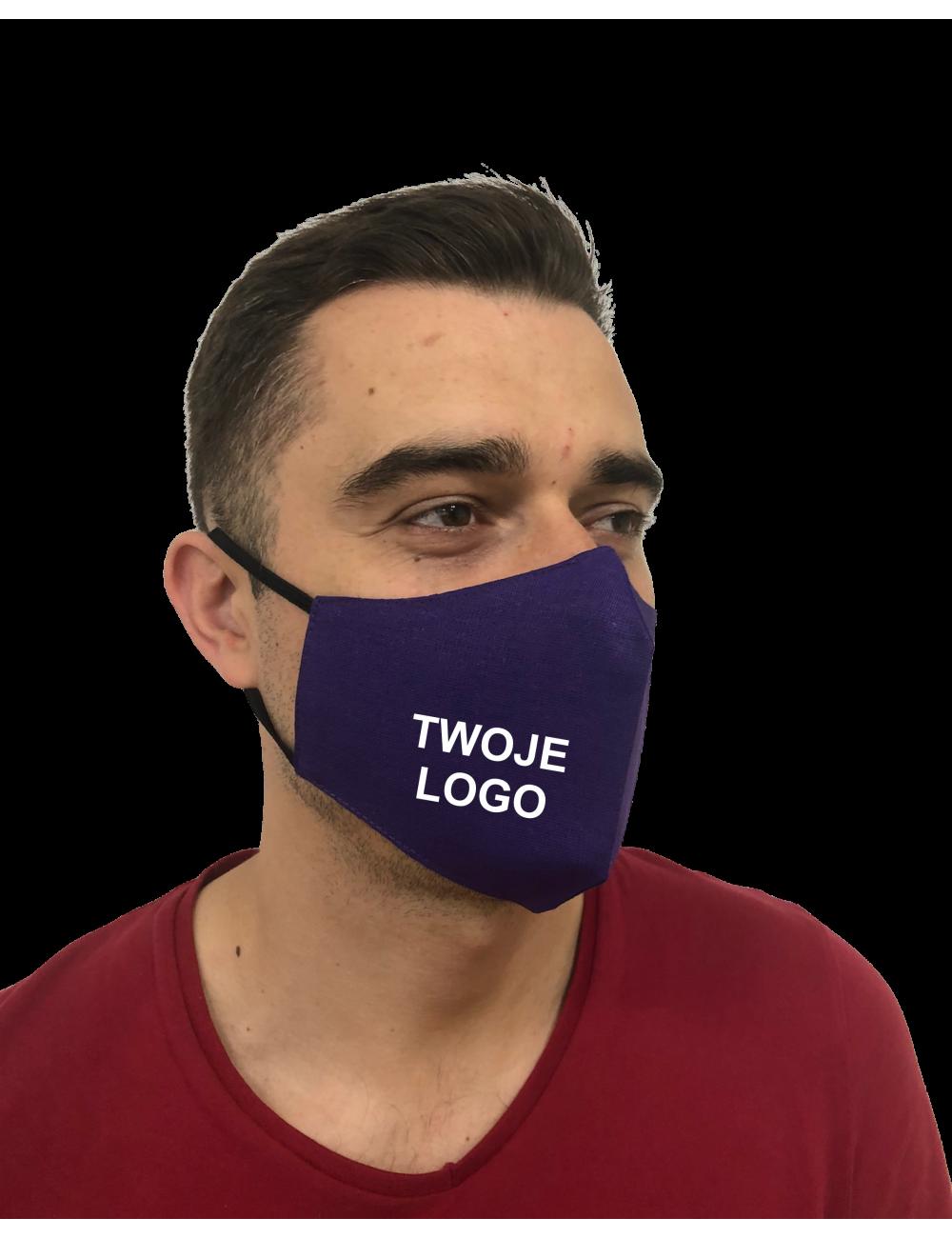 Maska, Maseczka Męska profilowana bawełniana fioletowa z twoim logo full color