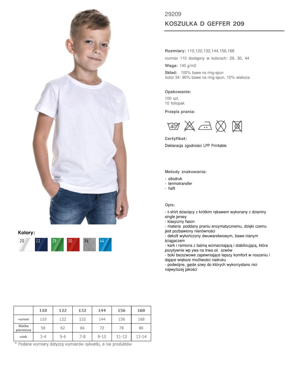 GEFFER KOSZULKA Dziecięca 209 BIAŁY