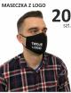Maska Ochronna, Maseczki Bawełniane reklamowe, czarne profilowane 20 sztuk z logo, różne kolory