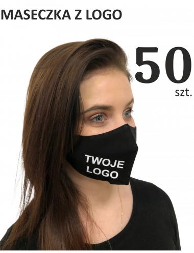 Maska ochronna Maseczki Bawełniane reklamowe 50 sztuk profilowane z logo nadruk